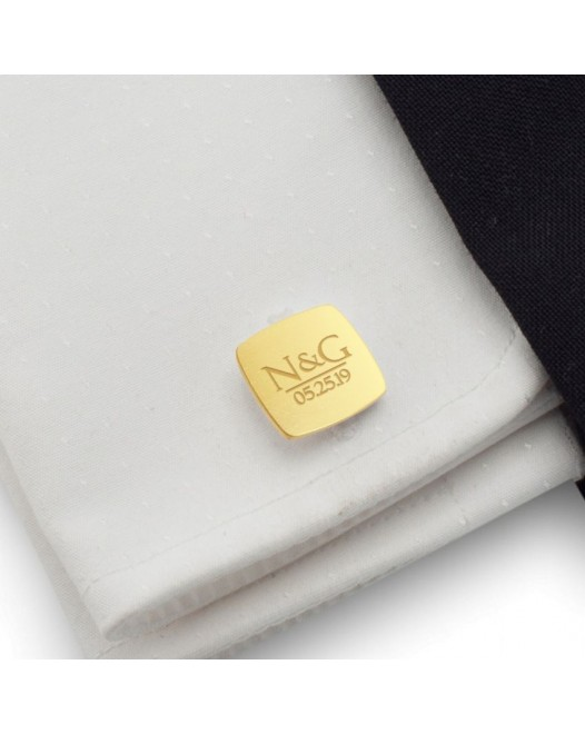 Custom Gold Cufflinks | With initials and wedding date | Sterling silver gold plated | ZD.172Gold