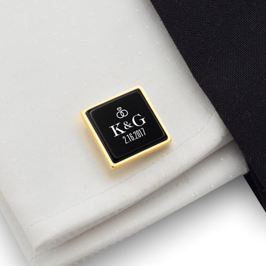 Gold Groom cufflinks   With initials and wedding date   Sterling silver gold plated   Onyx stone   ZD.93Gold