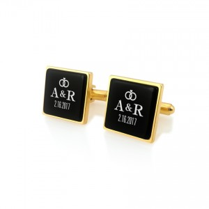 Gold Groom cufflinks | With initials and wedding date | Sterling silver gold plated | Onyx stone | ZD.93Gold