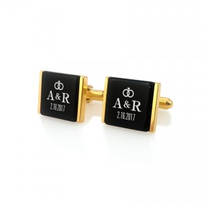 Gold Groom cufflinks | With initials and wedding date | Sterling silver gold plated | Onyx stone | ZD.94Gold