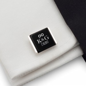 Groom cufflinks | With initials and wedding date | Sterling sillver | Onyx stone | ZD.94