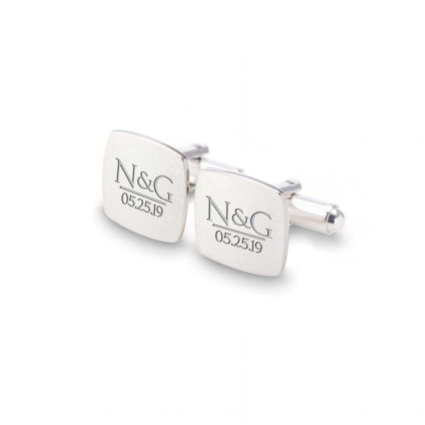 Groom cufflinks   With initials and wedding date   Available in 10 fonts   Sterling silver   ZD.172