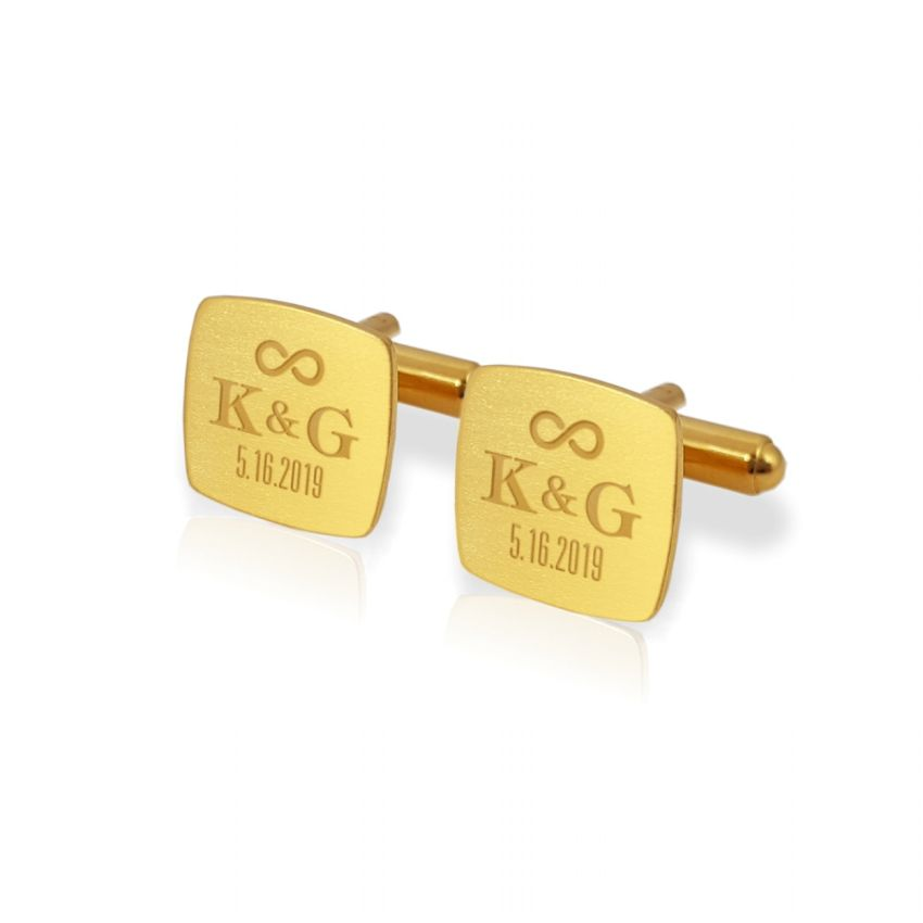 Gold Groom cufflinks | With initials and wedding date | Sterling silver gold plated | ZD.95Gold