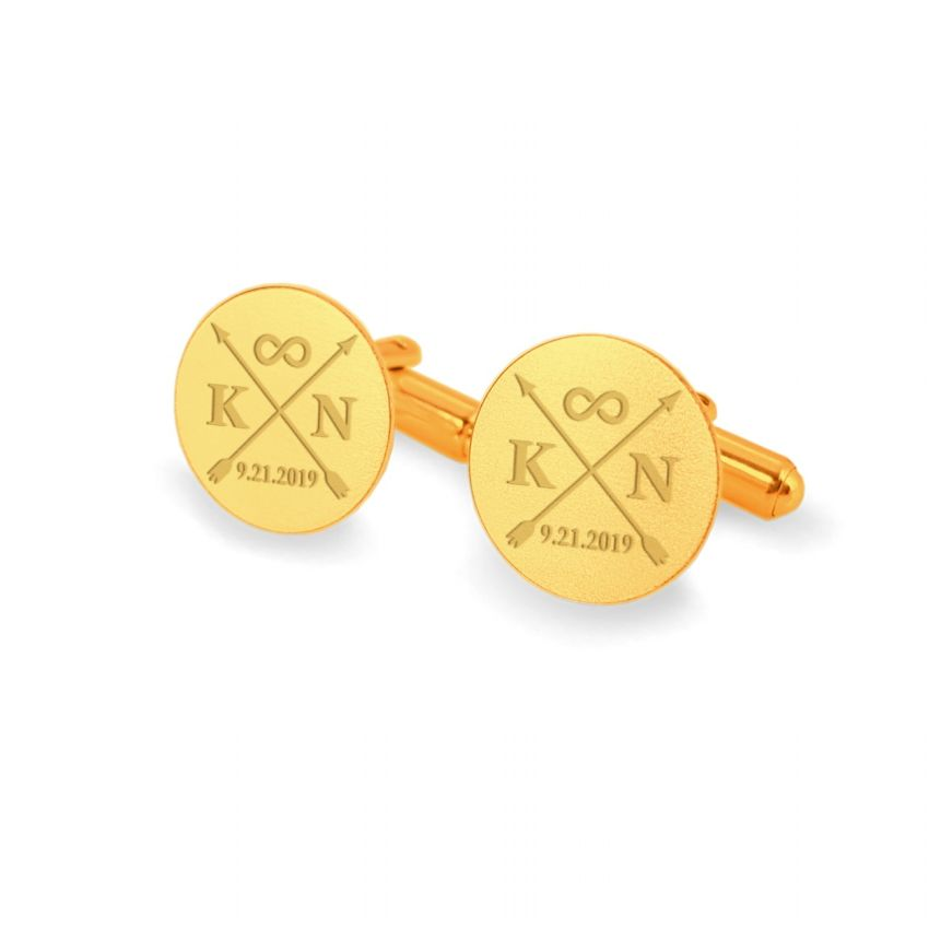Gold wedding arrow cufflinks | With initials and wedding date | Sterling silver gold plated | ZD.171Gold