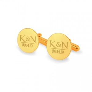 Custom Gold Cufflinks | With initials and wedding date | Available in 10 fonts | Sterling silver gold plated | ZD.173Gold