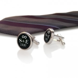 Wedding cufflinks | With initials and wedding date | Sterling silver | Onyx stone | ZD.102