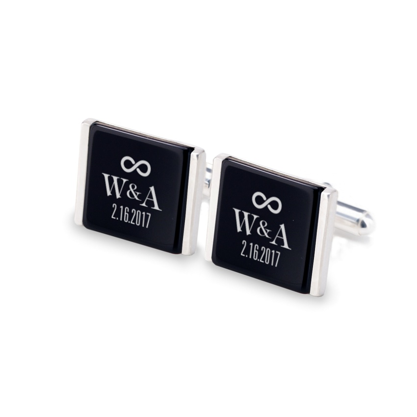 Groom cufflinks   With initials and wedding date   Sterling silver   Onyx stone   ZD.94
