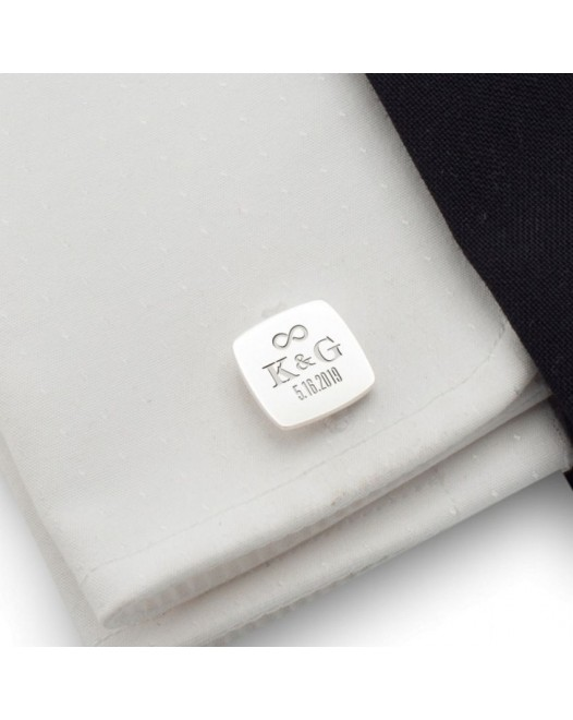 Groom cufflinks | With initials and wedding date | Sterling sillver | ZD.95