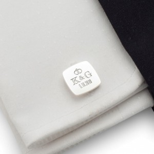 Groom cufflinks | With initials and wedding date | Sterling silver | ZD.95