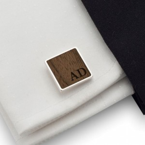 Personalized Wood Cufflinks | Available in 10 fonts | Sterling sillver | American Walnut | ZD.181