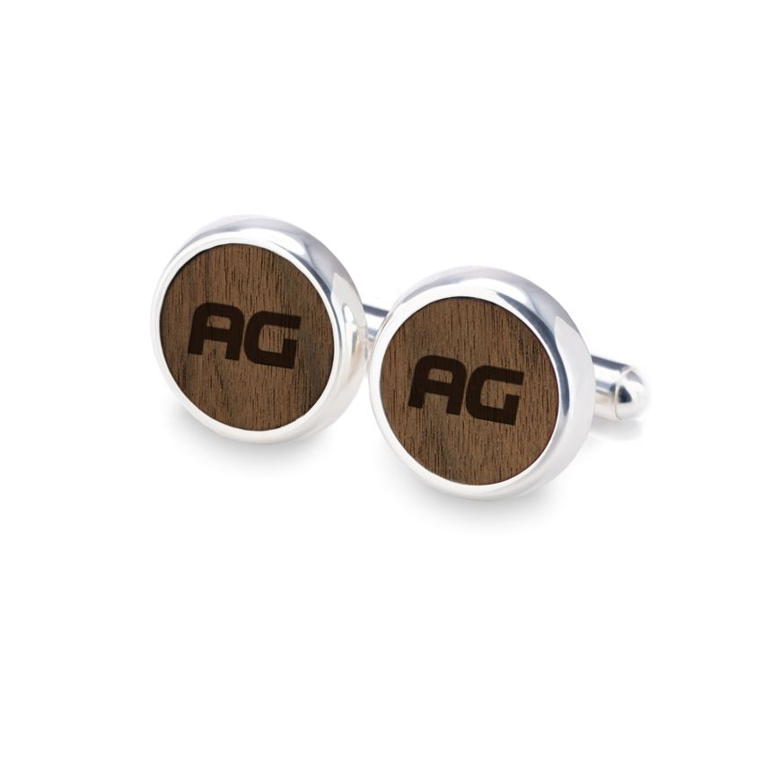 Engraved Cufflinks | Available in 10 fonts | Sterling silver | American Walnut | ZD.53