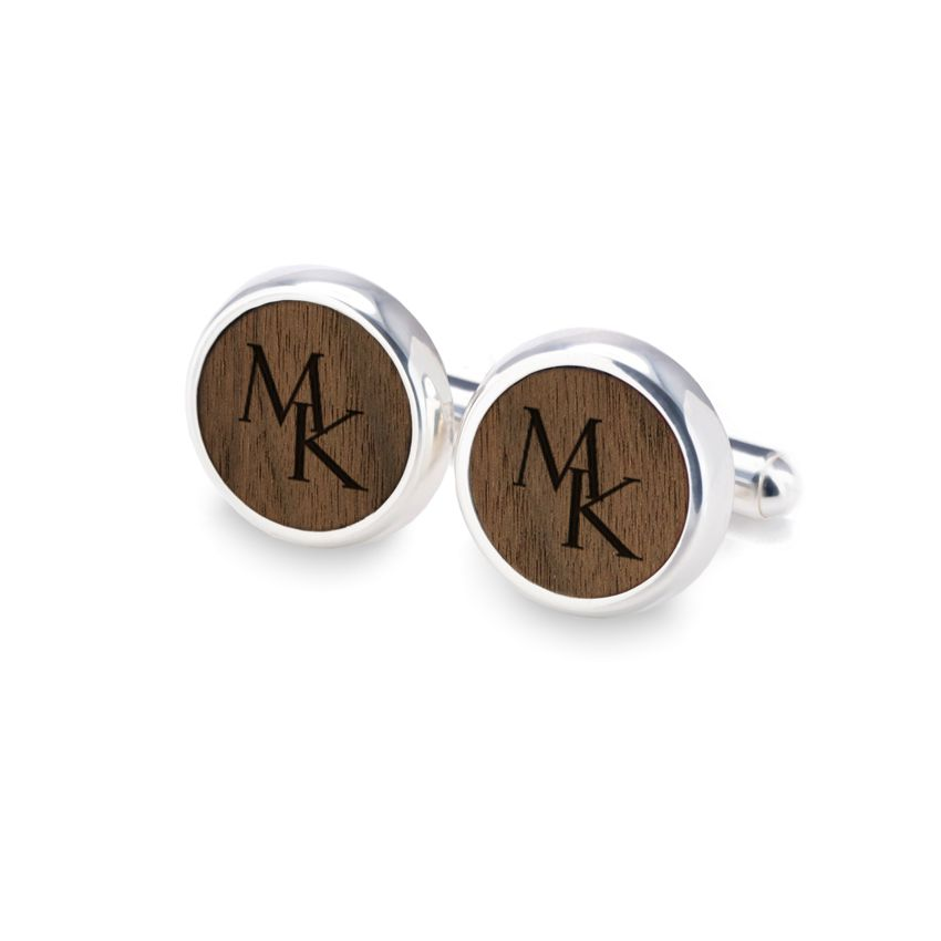 Engraved Wood Cufflinks   Available in 10 fonts   Sterling silver   American Walnut   ZD.115