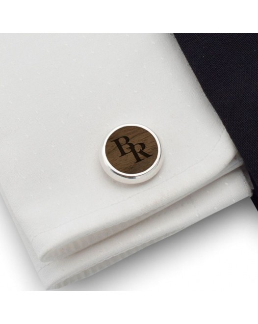 Engraved Wood Cufflinks | Available in 10 fonts | Sterling silver | American Walnut | ZD.115