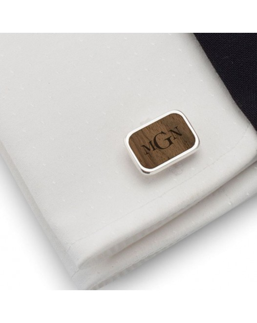 Personalised Monogram Cufflinks | Available in 10 fonts | Sterling sillver | American Walnut | ZD.63