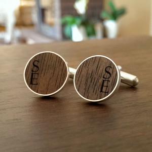 Personalised Wooden Cufflinks | Available in 10 fonts | Sterling sillver | American Walnut | ZD.55-1