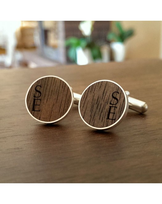 Personalised Wooden Cufflinks | Available in 10 fonts | Sterling silver | American Walnut | ZD.55-1
