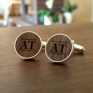Personalised Wooden Cufflinks | Available in 10 fonts | Sterling sillver | American Walnut | ZD.55-2