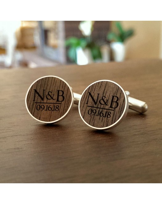 Personalised Wooden Cufflinks | With initials and wedding date | Available in 10 fonts | Sterling silver | American Walnut | ZD.55-4