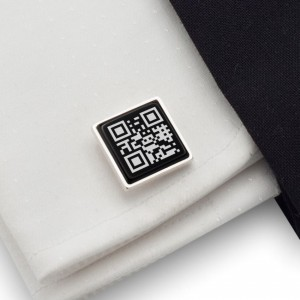 QR Cufflinks | Your secret message | Sterling sillver | Onyx stone | ZD.88