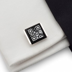 QR Cufflinks | Your secret message | Sterling sillver | Onyx stone | ZD.89