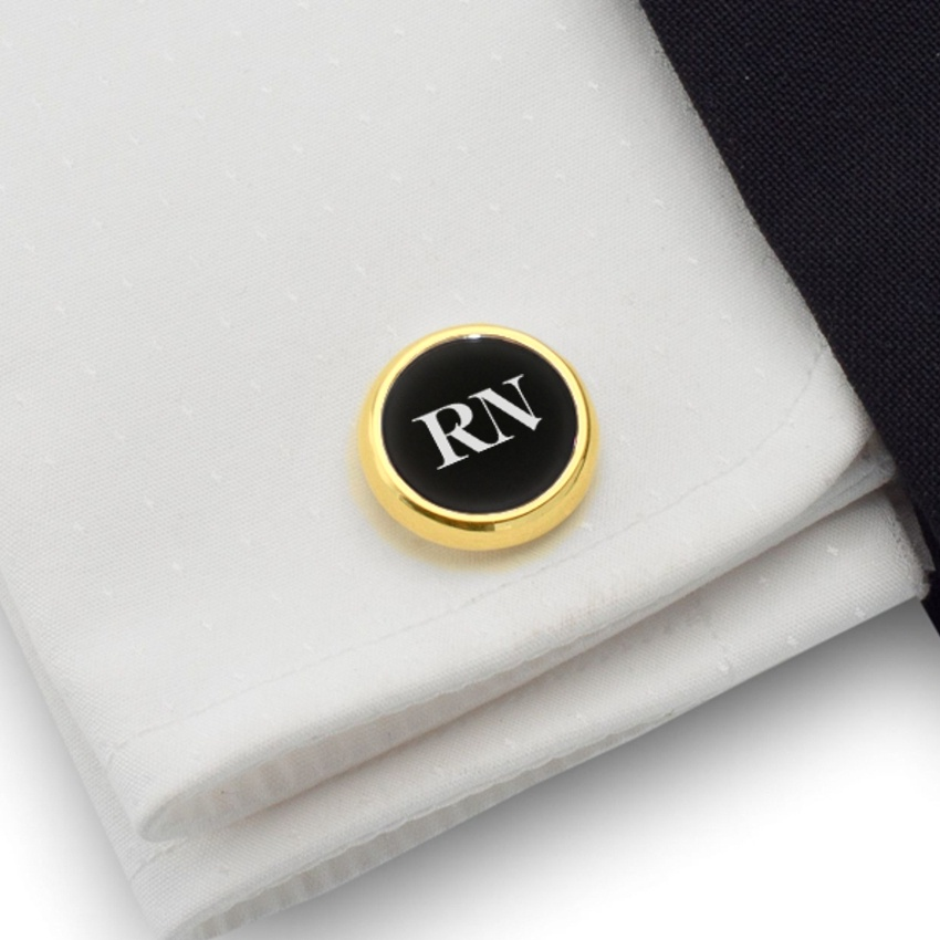 Engraved Gold Cufflinks   Available in 10 fonts   Sterling silver gold plated   Onyx stone   ZD.108Gold