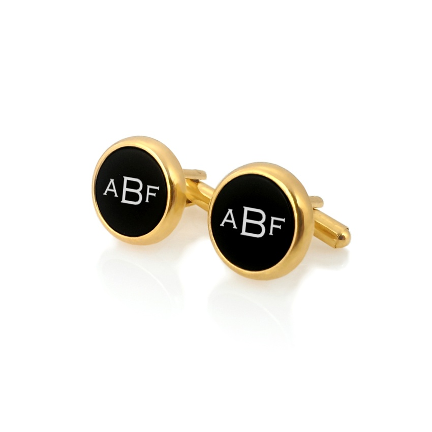 Engraved Gold Cufflinks | Available in 10 fonts | Sterling silver gold plated | Onyx stone | ZD.106Gold