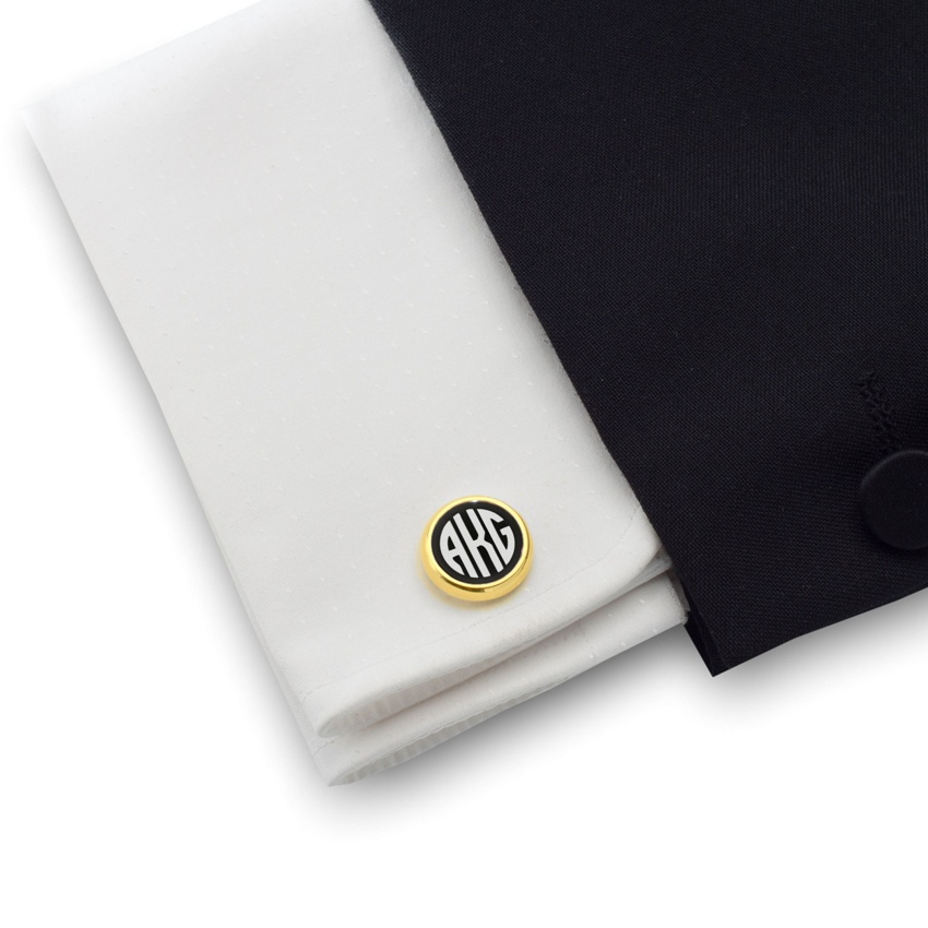 Engraved Gold Cufflinks   Sterling silver gold plated   Onyx stone   ZD.109Gold