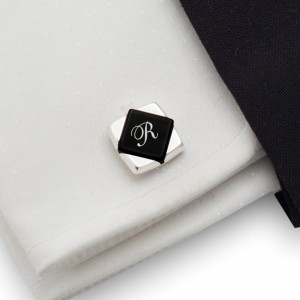 Onyx Cufflinks with Initials | Available in 10 fonts | Sterling sillver | Onyx stone | ZD.101