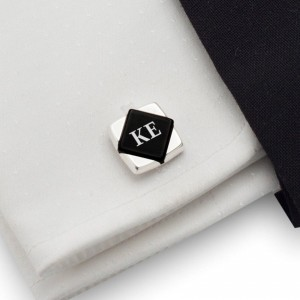Onyx Cufflinks with Initials | Available in 10 fonts | Sterling sillver | Onyx stone | ZD.100