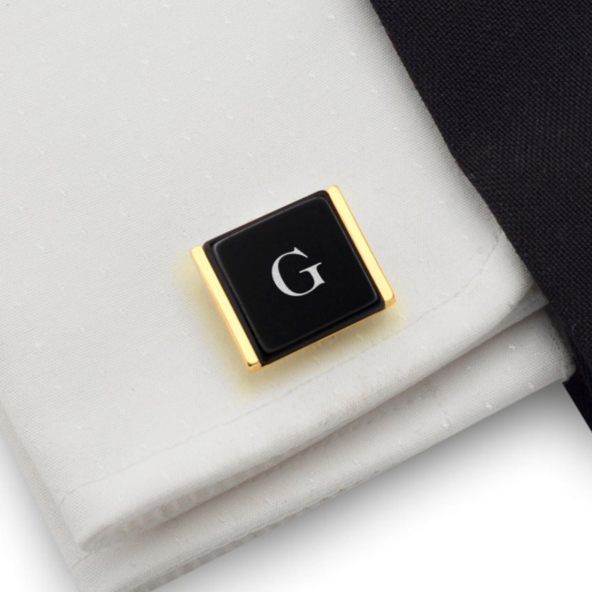Engraved Gold Cufflinks   Available in 10 fonts   Sterling sillver gold plated   Onyx stone   ZD.76Gold