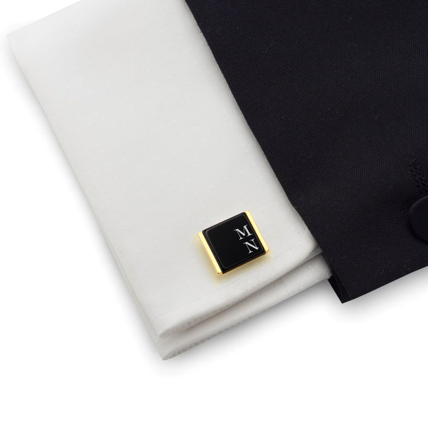 Engraved Gold Cufflinks | Available in 10 fonts | Sterling sillver gold plated | Onyx stone | ZD.74Gold