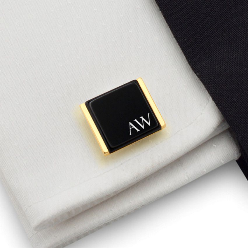 Custom Cufflinks | Available in 10 fonts | Sterling silver | Onyx stone | ZD.91