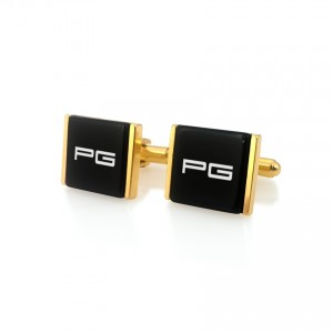 Engraved Gold Cufflinks | Available in 10 fonts | Sterling sillver gold plated | Onyx stone | ZD.75Gold