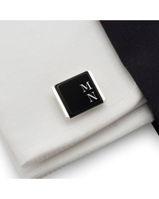 Black Onyx Cufflinks | Available in 10 fonts | Sterling sillver | Onyx stone | ZD.74