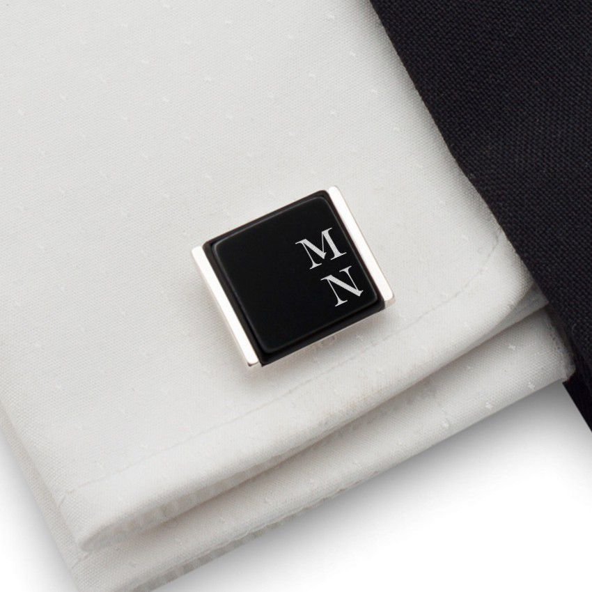 Black Onyx Cufflinks   Available in 10 fonts   Sterling silver   Onyx stone   ZD.74