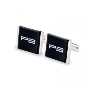 Initial Cufflinks | Available in 10 fonts | Sterling silver | Onyx stone | ZD.75