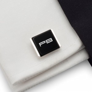 Initial Cufflinks | Available in 10 fonts | Sterling sillver | Onyx stone | ZD.75