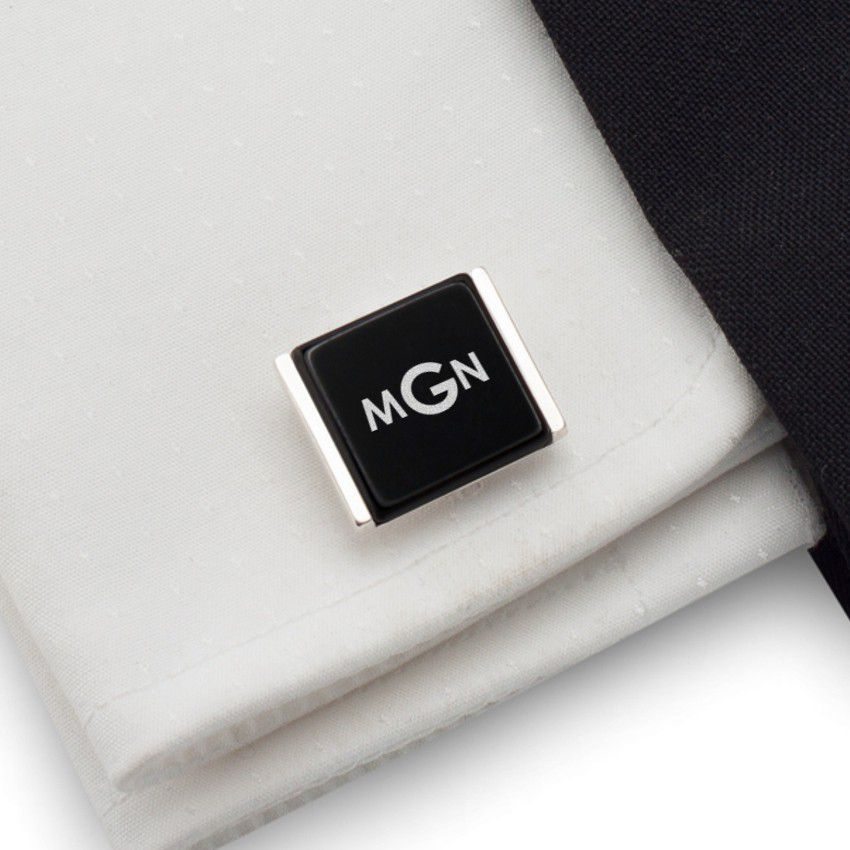 Monogram Cufflinks | Available in 10 fonts | Sterling silver | Onyx stone | ZD.78