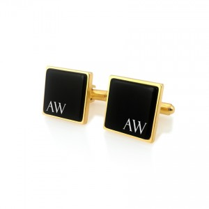 Custom Gold Cufflinks   Available in 10 fonts   Sterling silver gold plated   Onyx stone   ZD.122Gold