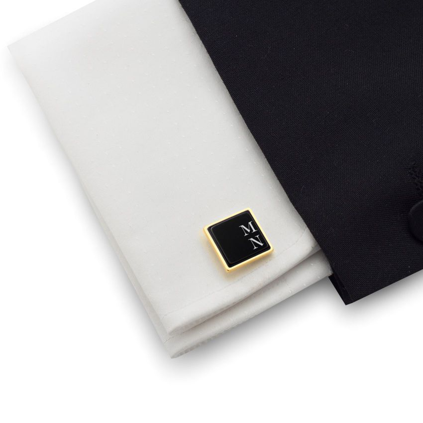 Engraved Gold Cufflinks | Available in 10 fonts | Sterling silver gold plated | Onyx stone | ZD.66Gold