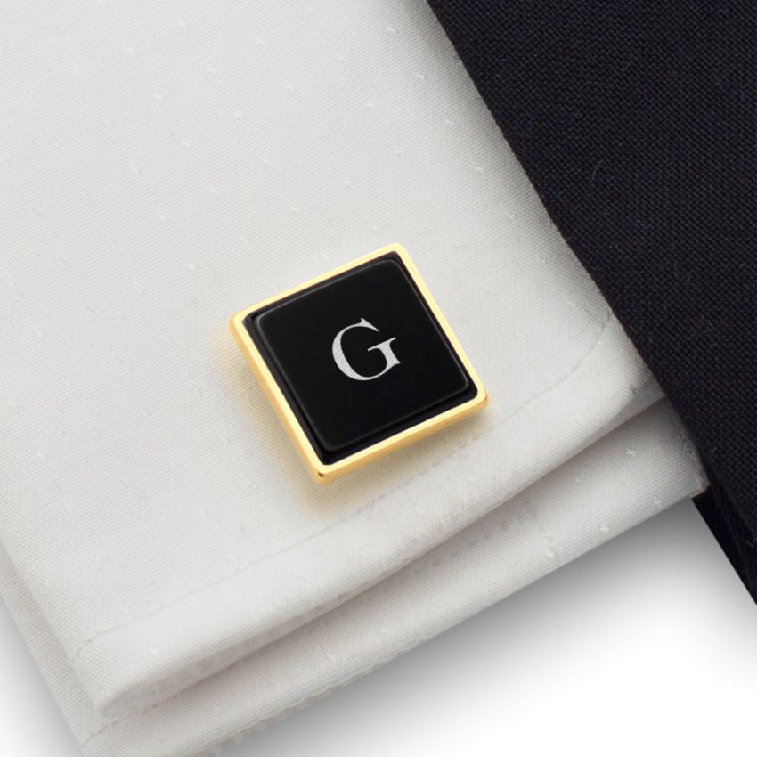 Engraved Gold Cufflinks | Available in 10 fonts | Sterling silver gold plated | Onyx stone | ZD.68Gold