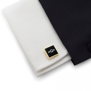 Monogram Gold Cufflinks | Available in 10 fonts | Sterling silver gold plated | Onyx stone | ZD.70Gold