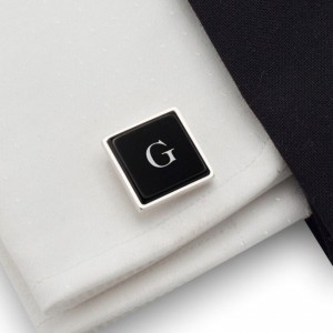 Initials Cufflinks | Available in 10 fonts | Sterling sillver | Onyx stone | ZD.68