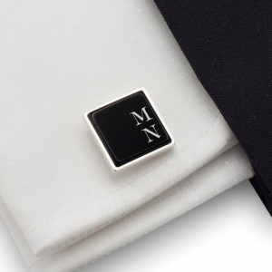 Initials Cufflinks | Available in 10 fonts | Sterling sillver | Onyx stone | ZD.66