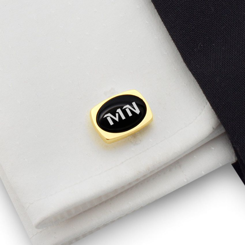 Engraved Oval Cufflinks | Available in 10 fonts | Sterling silver gold plated | Onyx stone | ZD.84Gold