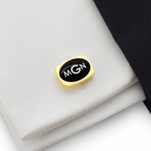 Engraved Oval Cufflinks | Available in 10 fonts | Sterling sillver gold plated | Onyx stone | ZD.79Gold