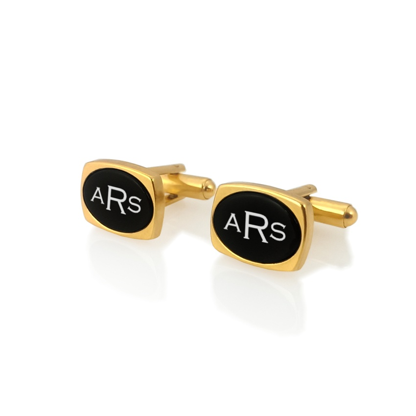 Engraved Oval Cufflinks | Available in 10 fonts | Sterling silver gold plated | Onyx stone | ZD.79Gold