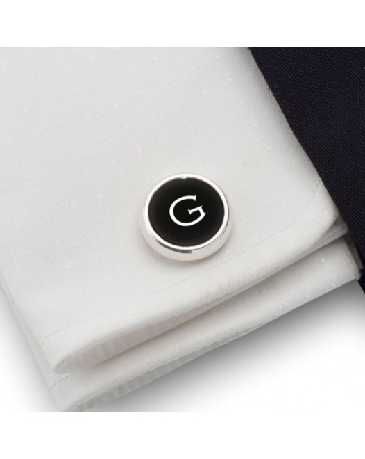 Personalized Cufflinks | Available in 10 fonts | Sterling sillver | Onyx stone | ZD.110