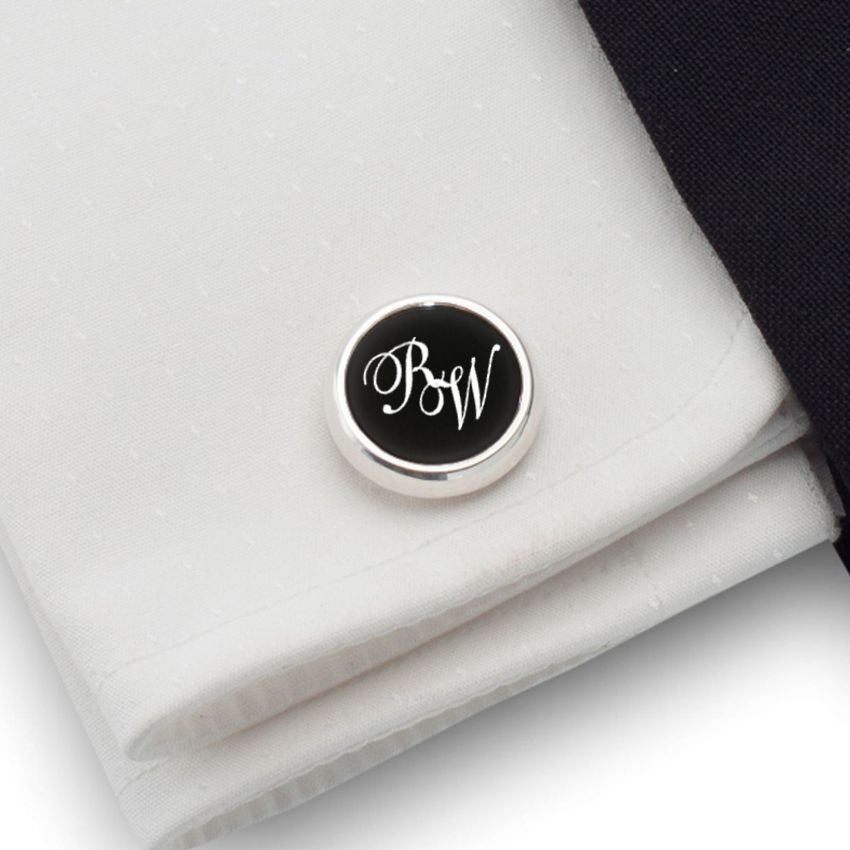 Engraved round Cufflinks | Available in 10 fonts | Sterling silver | Onyx stone | ZD.114