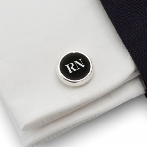 Engraved round Cufflinks | Available in 10 fonts | Sterling sillver | Onyx stone | ZD.108